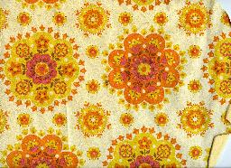 retro orange floral wallpaper