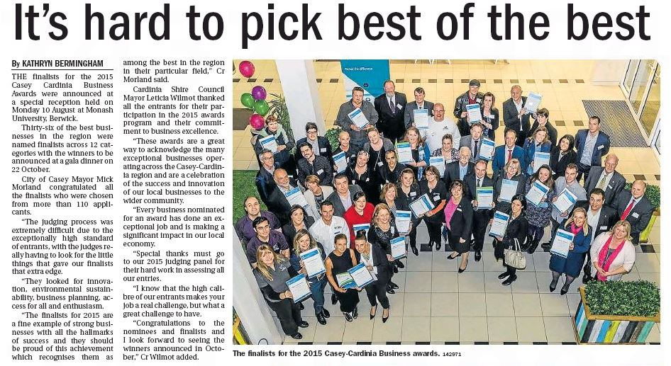 Pakenham Gazette - 19th August 2015 pages 12 and 13 K & D Bak Painting and Decorating - Finalists in the 2015 Casey Cardinia Business Awards