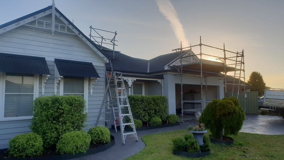 Painter,  painting,  house, exterior, scaffolding,  Melbourne
